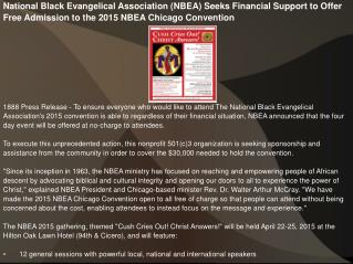 National Black Evangelical Association (NBEA) Seeks