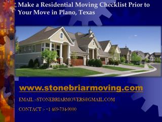 Make a Residential Moving Checklist Prior to Your Move in Pl