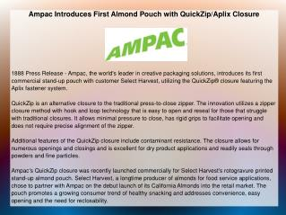 Ampac Introduces First Almond Pouch with QuickZip/Aplix