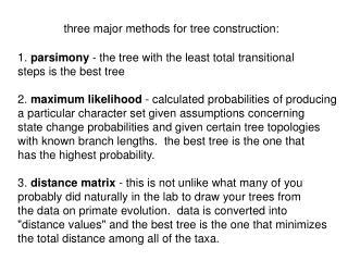 Three major methods for tree construction: