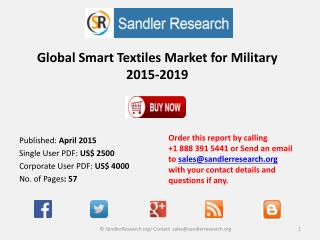 Global Smart Textiles Market for Military 2015-2019