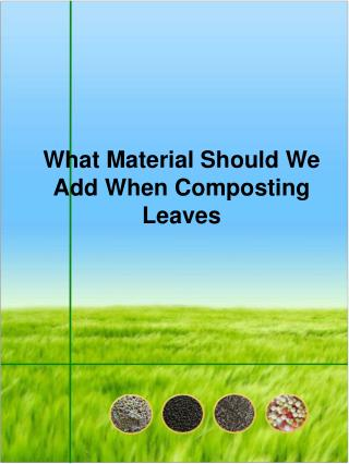 What Material Should We Add When Composting Leaves