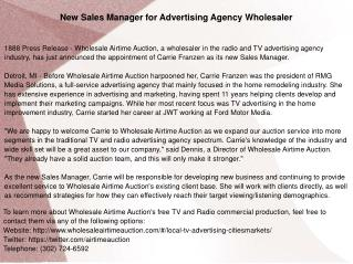 New Sales Manager for Advertising Agency Wholesaler