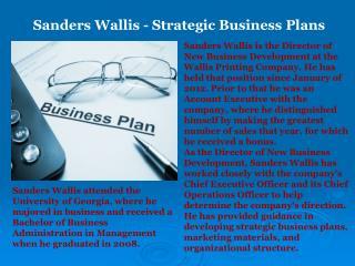 Sanders Wallis - Strategic Business Plans