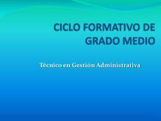 CICLO FORMATIVO DE GRADO MEDIO