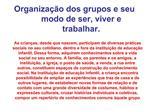 Organiza  o dos grupos e seu modo de ser, viver e trabalhar.