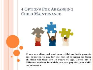 4 Options For Arranging Child Maintenance