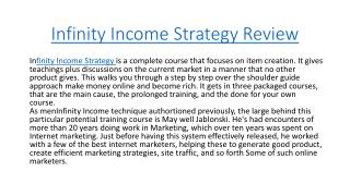 Infinity Income Strategy Review - Legit or Scam?