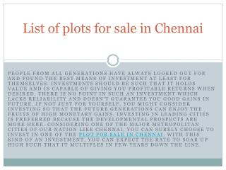 List of plots for sale in Chennai