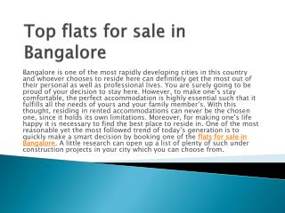 Top flats for sale in Bangalore