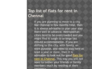 Top list of flats for rent in Chennai