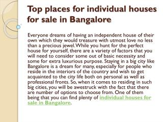Top places for individual houses for sale in Bangalore
