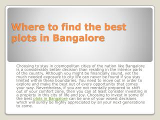 Where to find the best plots in Bangalore