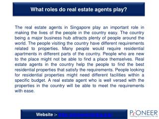 What roles do real estate agents play?