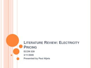 Literature Review: Electricity Pricing
