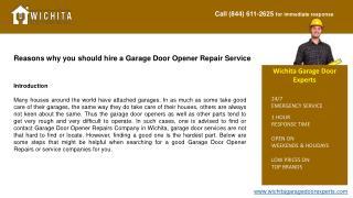 Reasons why you should hire a Garage Door Opener Repair Serv