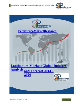 Lanthanum Market: Global Industry Analysis and Forecast 2014