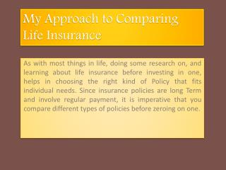 My Approach to Comparing Life Insurance