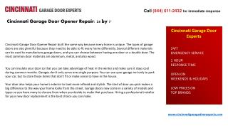 Cincinnati Garage Door Opener Repair: 24 by 7