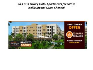 2&3 BHK Luxury Flats, Apartments  for sale in Nellikuppam, O