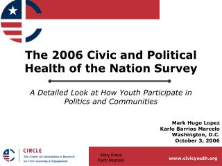 The 2006 Civic and Political Health of the Nation Survey  A Detailed Look at How Youth Participate in Politics and Commu