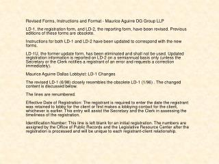 Revised Forms, Instructions and Format - Maurice Aguirre DG
