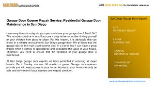 Garage Door Opener Repair Service, Residential Garage Door M