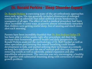 Dr. Ronald Perkins - Sleep Disorder Expert