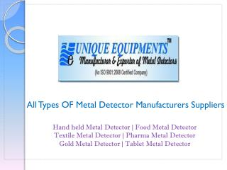 Pharma Metal Detector Manufacturers Goa | Suppliers India