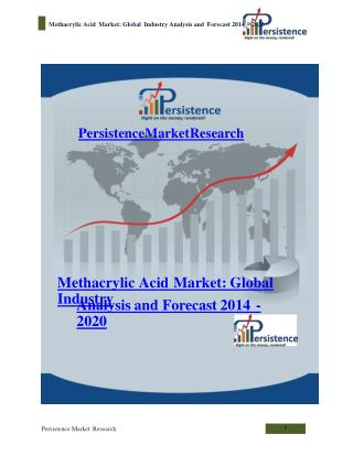 Methacrylic Acid Market: Global Industry Analysis and Foreca