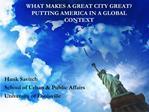 Hank Savitch School of Urban  Public Affairs University of Louisville