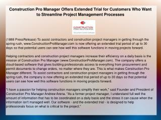 Construction Pro Manager Offers Extended Trial for Customers