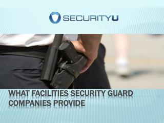 What Facilities Security guard companies Provide