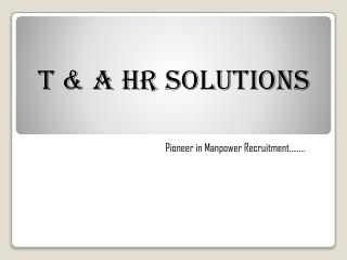 Manpower Consultancy Pune | T & A HR Solutions