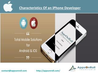 Characteristics Of an iPhone Developer