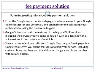 Fulfillment and status information related fee payment solut