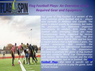 Flag Football Plays- An Overview of the Required Gear and Eq