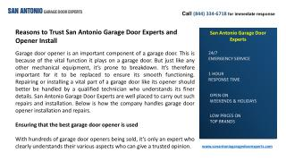 Reasons to Trust San Antonio Garage Door Experts and Opener