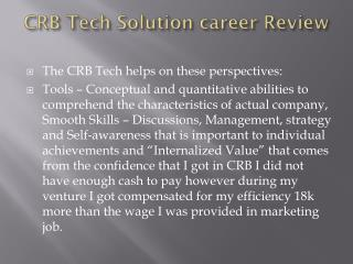 Career Reviews By CRB TECH