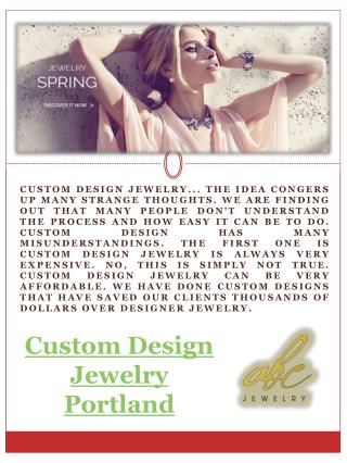 Custom Design Jewelry Portland