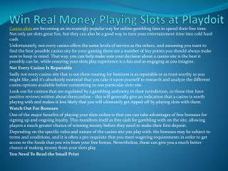 Win Real Money Playing Slots at Playdoit.com