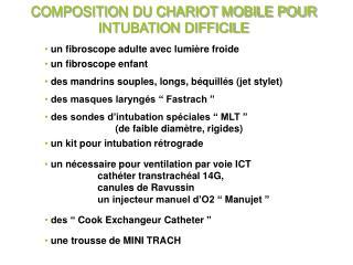 COMPOSITION DU CHARIOT MOBILE POUR INTUBATION DIFFICILE