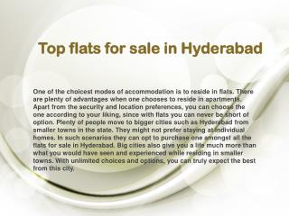 Top flats for sale in Hyderabad