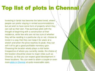 Top list of plots in Chennai