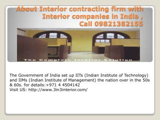Interior contracting firm, Interior companies in India
