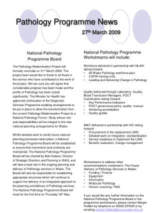 Pathology Programme News    27th March 2009