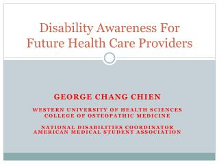 Disability Awareness For Future Health Care Providers