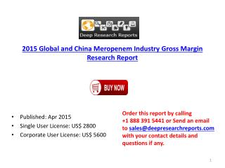 Production Research Report on Global and China Meropenem Ind