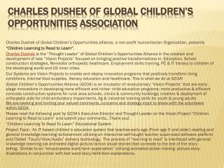 Charles Dushek of Global Children's Opportunities Associatio