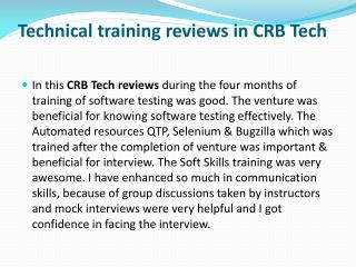 CRB TECH Technical Training Reviews